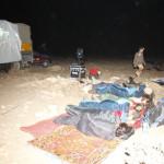 Cine en el campamento en el lago Naila, camino de Tarfaya
